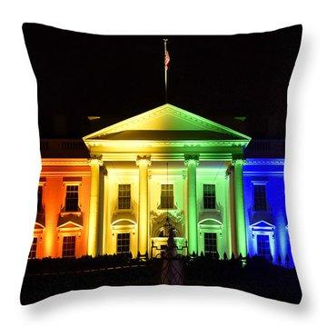 Rainbow White House  - Washington Dc Throw Pillow by Brendan Reals