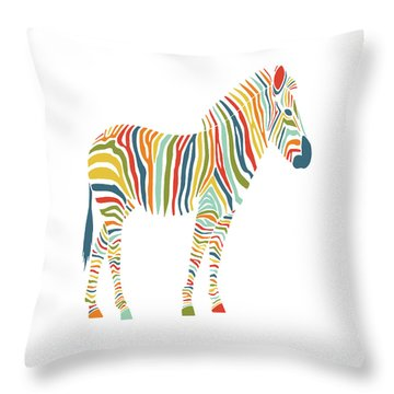 Rainbow Zebra Throw Pillow by Nicole Wilson