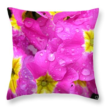 Raindrops On Pink Flowers 2 Throw Pillow by Carol Groenen