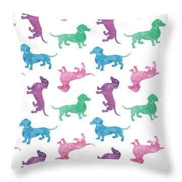 Raining Dachshunds Throw Pillow by Antique Images
