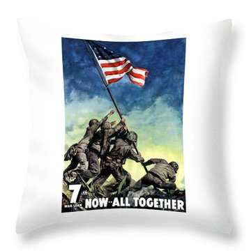 Raising The Flag On Iwo Jima Throw Pillow by War Is Hell Store