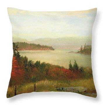 Raquette Lake Throw Pillow by Homer Dodge Martin