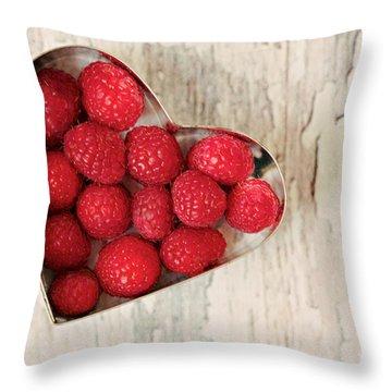 Raspberry Heart Throw Pillow by Kim Fearheiley