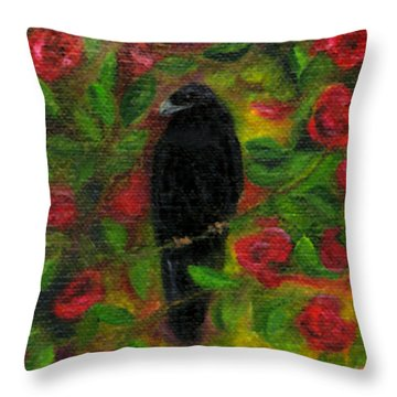 Raven In Roses Throw Pillow by FT McKinstry