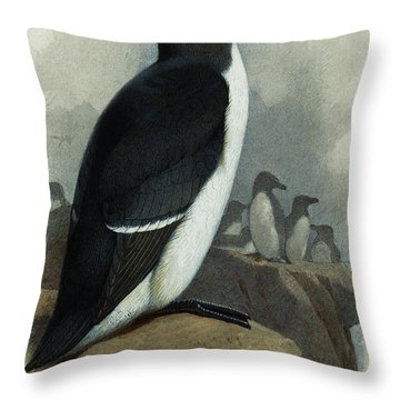Razorbill Throw Pillow by Archibald Thorburn