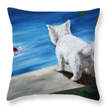Red Ball Throw Pillow by Mary Sparrow