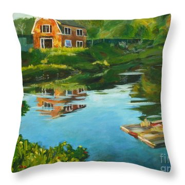 Red Barn In Kennebunkport Me Throw Pillow by Claire Gagnon