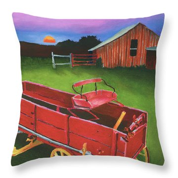 Red Buckboard Wagon Throw Pillow by Stephen Anderson