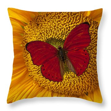 Red Butterfly On Sunflower Throw Pillow by Garry Gay