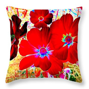 Red Cosmos Throw Pillow by Will Borden