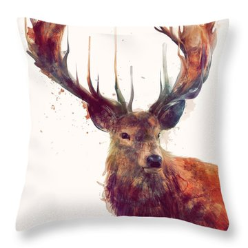 Red Deer Throw Pillow by Amy Hamilton