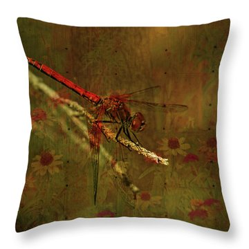 Red Dragonfly Dining Throw Pillow by Bonnie Bruno