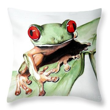 Red Eyes Throw Pillow by Ilaria Andreucci