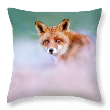 Red Fox In A Mysterious World Throw Pillow by Roeselien Raimond