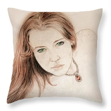 Red Hair And Freckled Beauty Throw Pillow by Jim Fitzpatrick