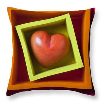 Red Heart In Box Throw Pillow by Garry Gay
