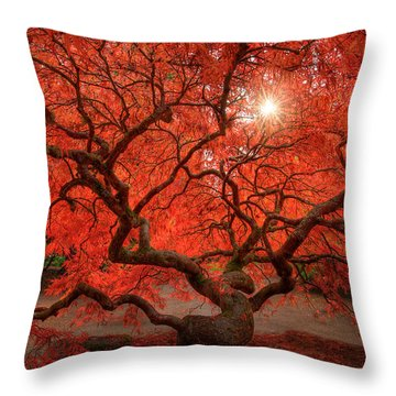 Red Lace Throw Pillow by Dan Mihai
