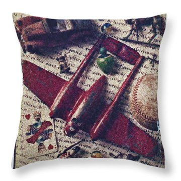 Red Plane Throw Pillow by Garry Gay