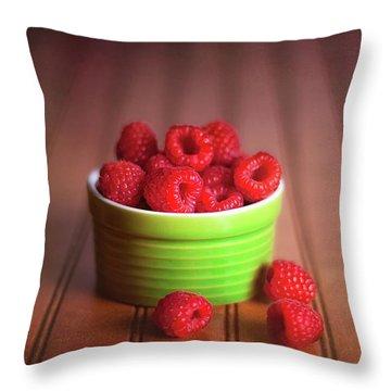 Red Raspberries Still Life Throw Pillow by Tom Mc Nemar