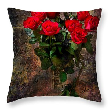Red Roses Throw Pillow by Svetlana Sewell