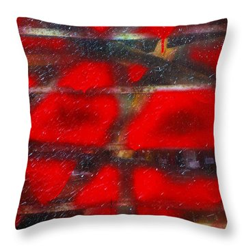 Red Scare Throw Pillow by Skip Hunt