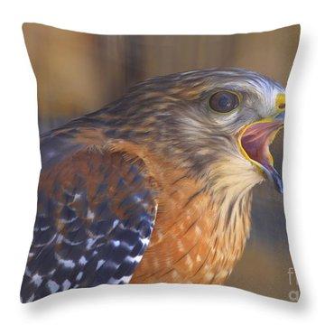 Red Shoulder Hawk Throw Pillow by Deborah Benoit