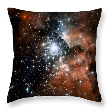 Red Smoke Star Cluster Throw Pillow by The  Vault - Jennifer Rondinelli Reilly