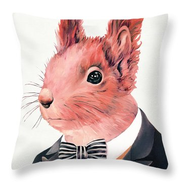 Red Squirrel Throw Pillow by Animal Crew