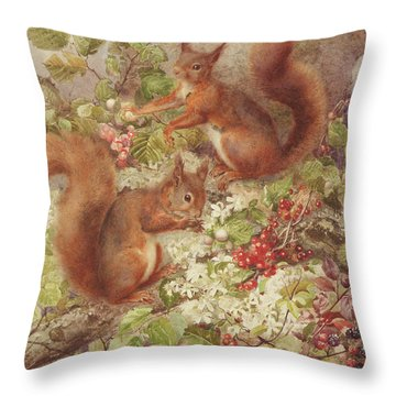 Red Squirrels Gathering Fruits And Nuts Throw Pillow by Rosa Jameson