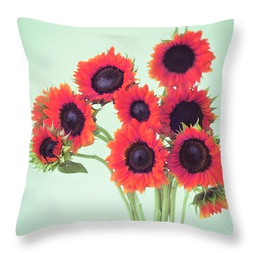 Red Sunflowers Throw Pillow by Amy Tyler