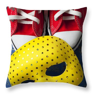 Red Tennis Shoes And Mask Throw Pillow by Garry Gay