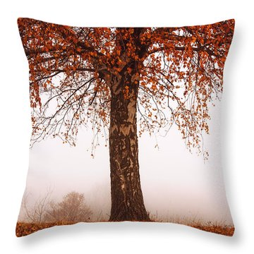 Red Tree Throw Pillow by Evgeni Dinev