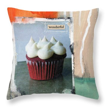 Red Velvet Cupcake Throw Pillow by Linda Woods
