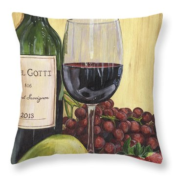 Red Wine And Pear 2 Throw Pillow by Debbie DeWitt