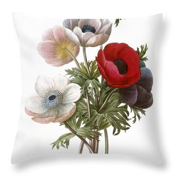 Redoute: Anemone, 1833 Throw Pillow by Granger