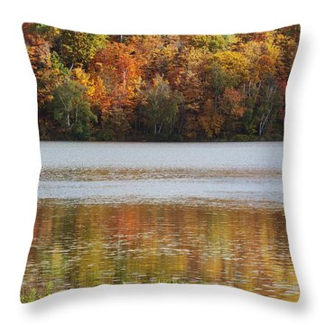 Reflection Of Autumn Colors In A Lake Throw Pillow by Susan Dykstra
