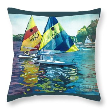 Reflections After The Race Throw Pillow by LeAnne Sowa