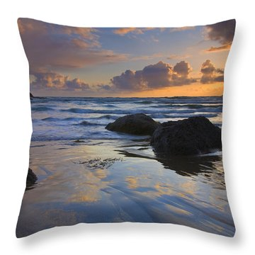 Reflections In The Sand Throw Pillow by Mike  Dawson