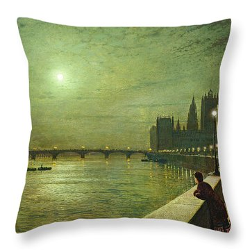Reflections On The Thames Throw Pillow by John Atkinson Grimshaw