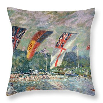 Regatta At Molesey Throw Pillow by Alfred Sisley