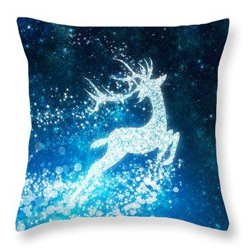 Reindeer Stars Throw Pillow by Setsiri Silapasuwanchai