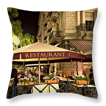Restaurant In Budapest Throw Pillow by Madeline Ellis