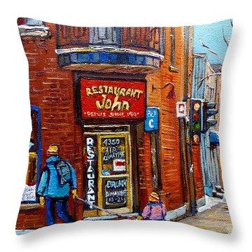 Restaurant John Montreal Throw Pillow by Carole Spandau