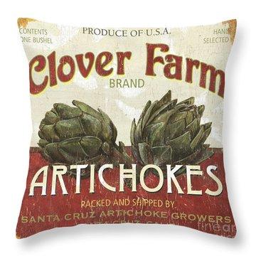 Retro Veggie Labels 1 Throw Pillow by Debbie DeWitt