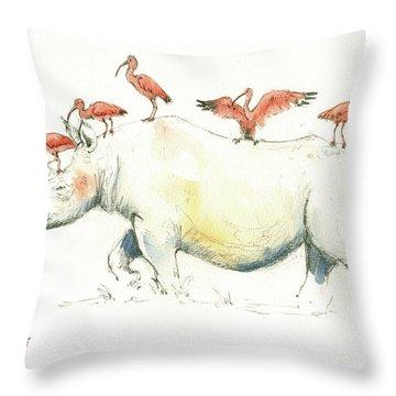 Rhino And Ibis Throw Pillow by Juan Bosco