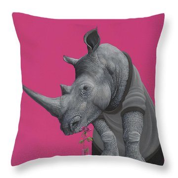 Rhino Throw Pillow by Jasper Oostland
