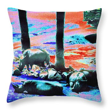 Rhinos Having A Picnic Throw Pillow by Abstract Angel Artist Stephen K