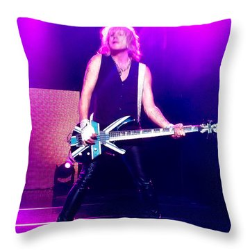 Rick Savage Of Def Leppard Throw Pillow by David Patterson