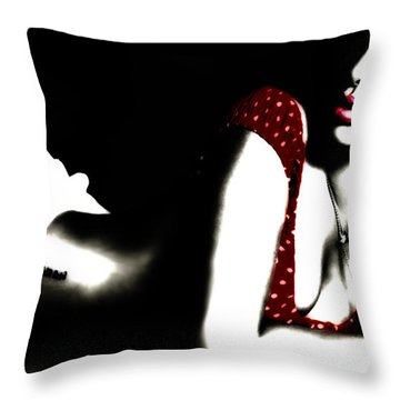 Rihanna In Red Throw Pillow by Brian Reaves