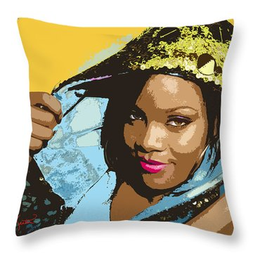 Rihanna Throw Pillow by John Keaton